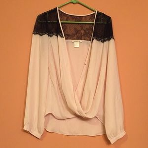 Cream Long Sleeve Arden B. Draped Blouse w/ Lace